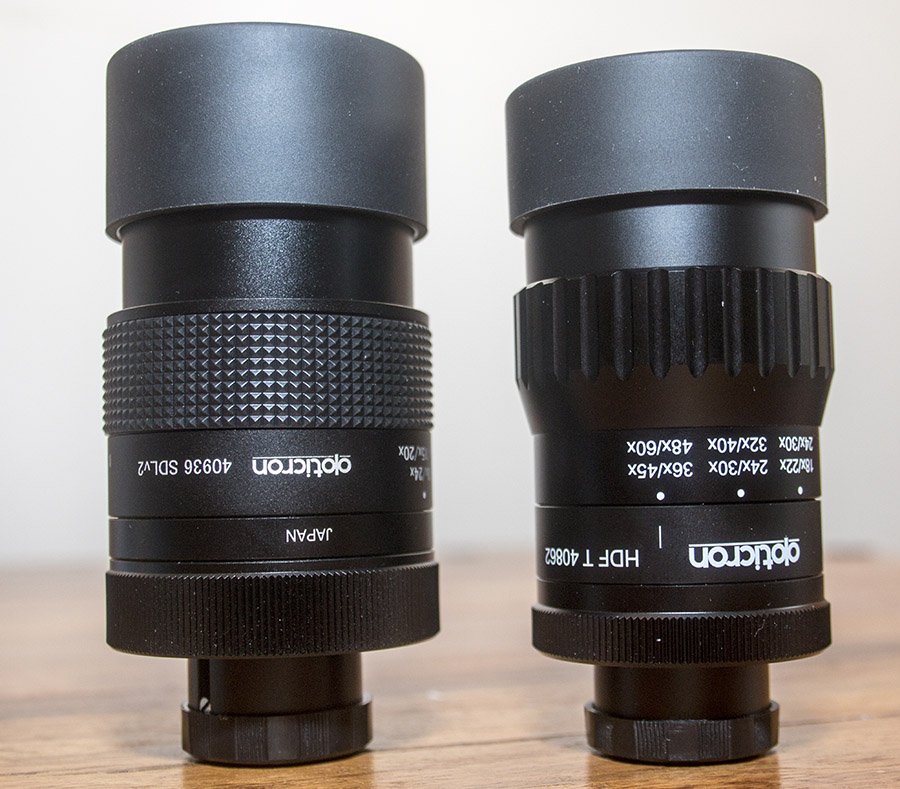 Opticron SDL v2 Zoom (left) & HDF T Zoom (right)